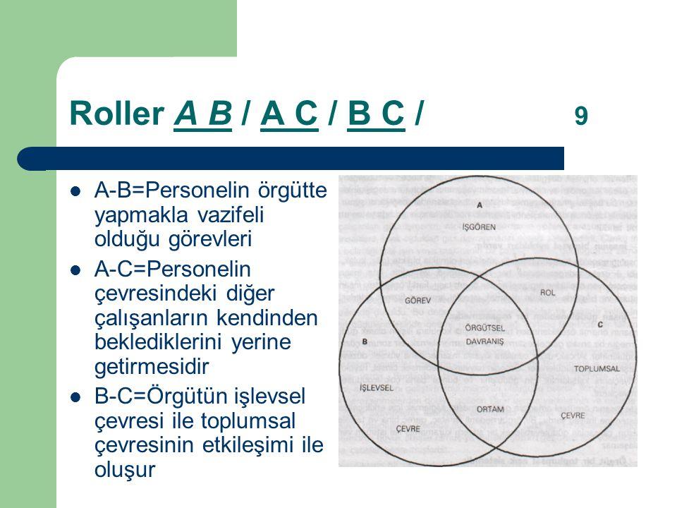 Roller A B / A C / B C / 9 A-B=Personelin örgütte yapmakla vazifeli olduğu görevleri.