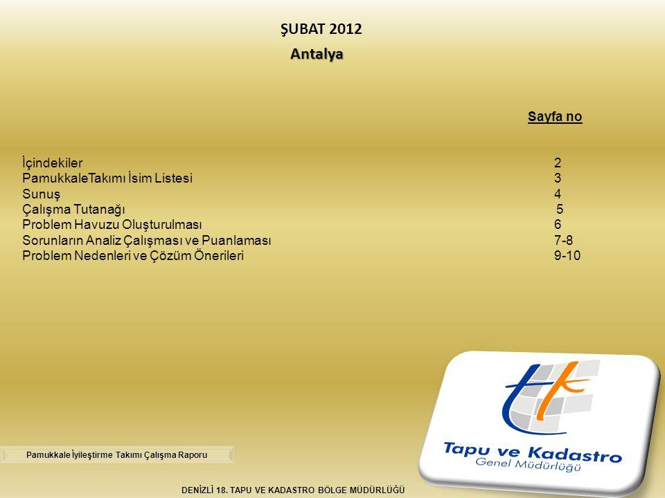 ŞUBAT 2012 Antalya Sayfa no İçindekiler 2