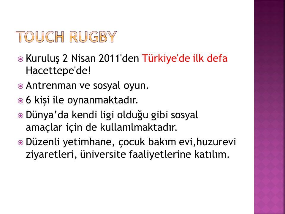 Touch Rugby Kuruluş 2 Nisan 2011 den Türkiye de ilk defa Hacettepe de!