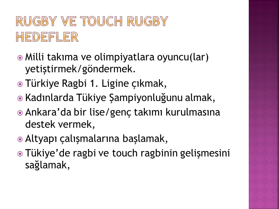 Rugby ve touch Rugby Hedefler