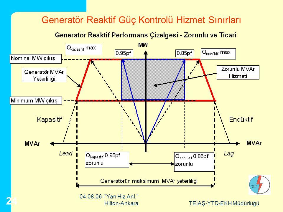 Generatör Reaktif Güç Kontrolü Hizmet Sınırları