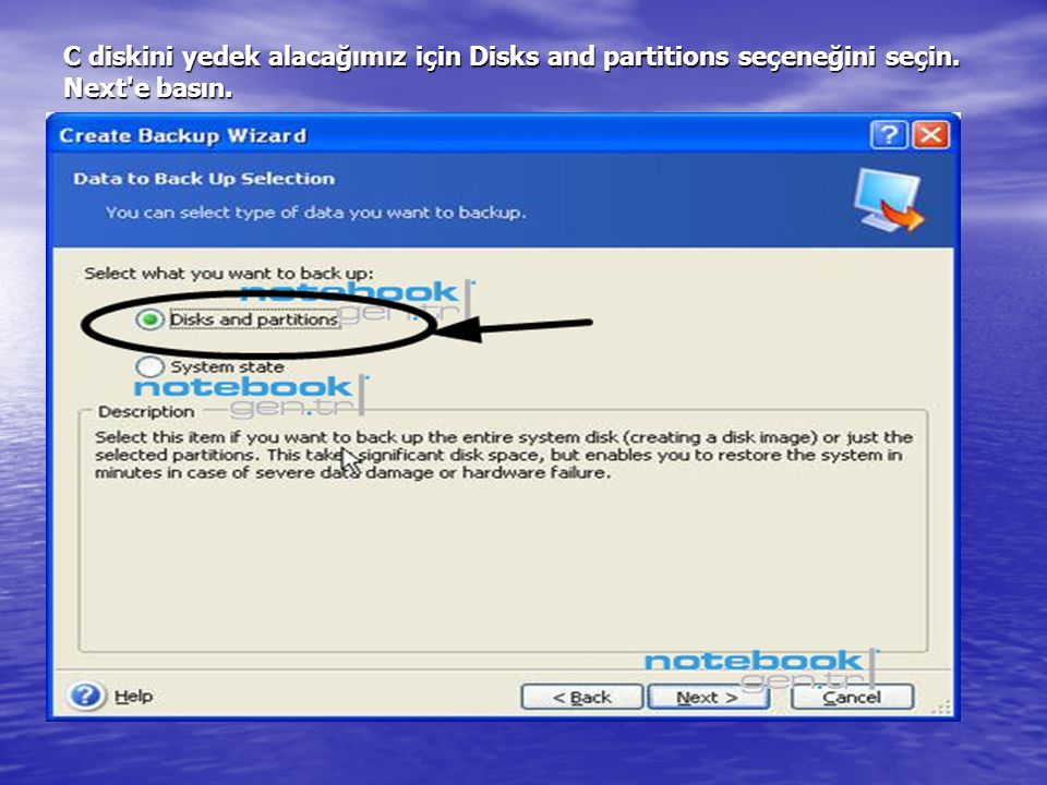 C diskini yedek alacağımız için Disks and partitions seçeneğini seçin