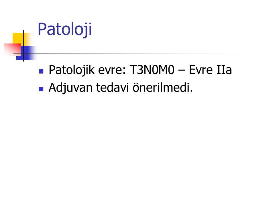 Patoloji Patolojik evre: T3N0M0 – Evre IIa Adjuvan tedavi önerilmedi.