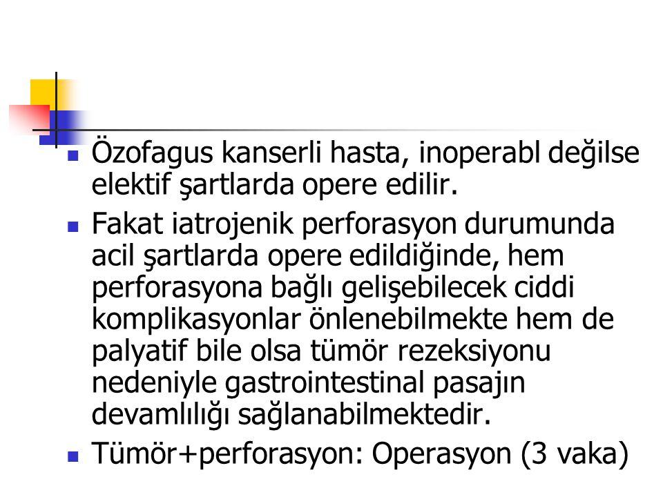 Özofagus kanserli hasta, inoperabl değilse elektif şartlarda opere edilir.