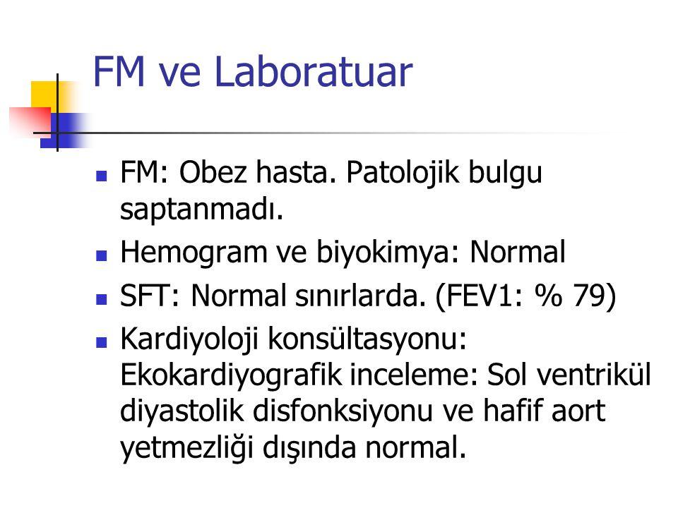 FM ve Laboratuar FM: Obez hasta. Patolojik bulgu saptanmadı.