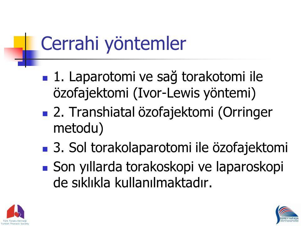 Cerrahi yöntemler 1. Laparotomi ve sağ torakotomi ile özofajektomi (Ivor-Lewis yöntemi) 2. Transhiatal özofajektomi (Orringer metodu)