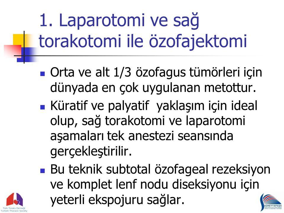 1. Laparotomi ve sağ torakotomi ile özofajektomi