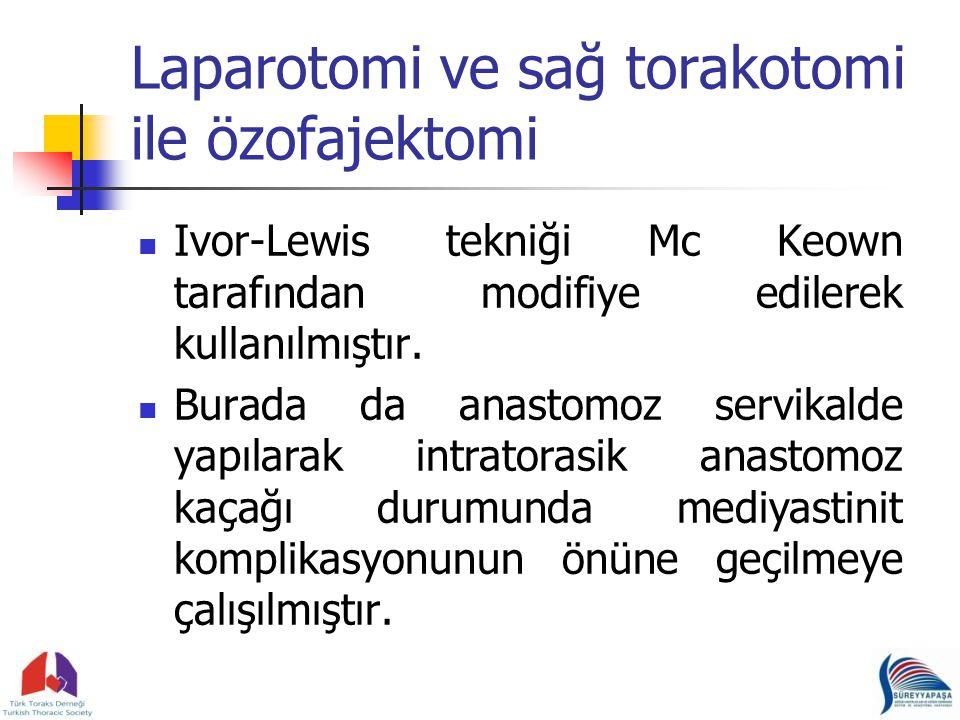 Laparotomi ve sağ torakotomi ile özofajektomi