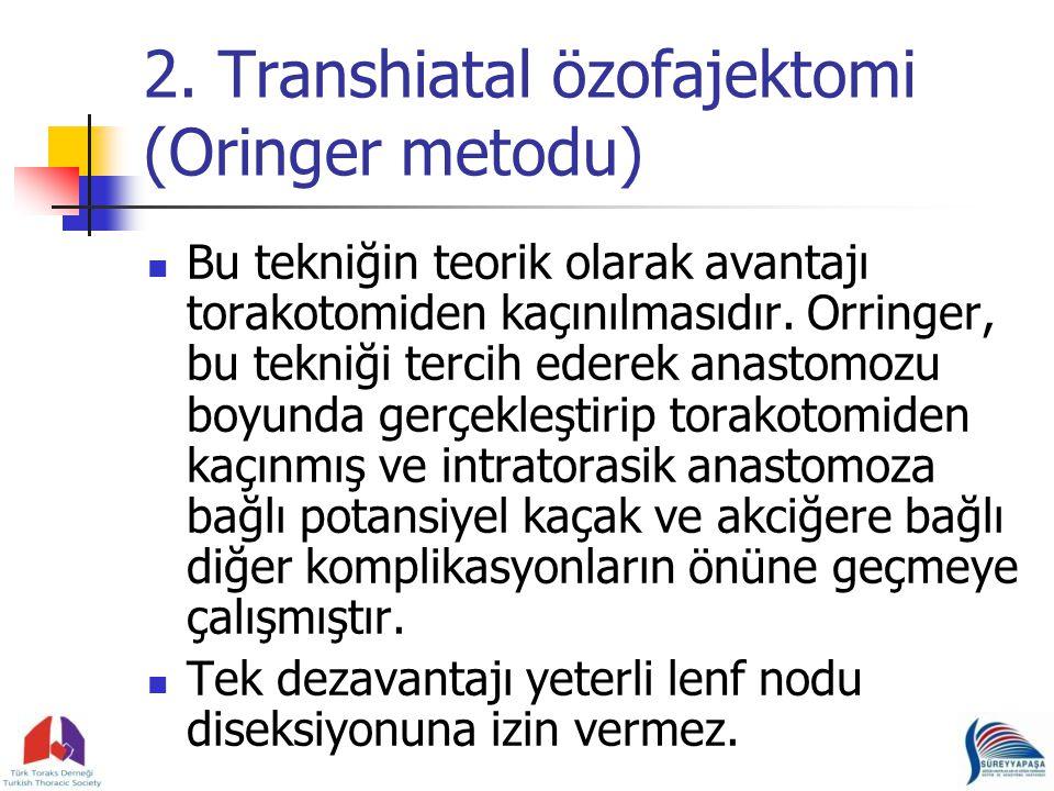 2. Transhiatal özofajektomi (Oringer metodu)