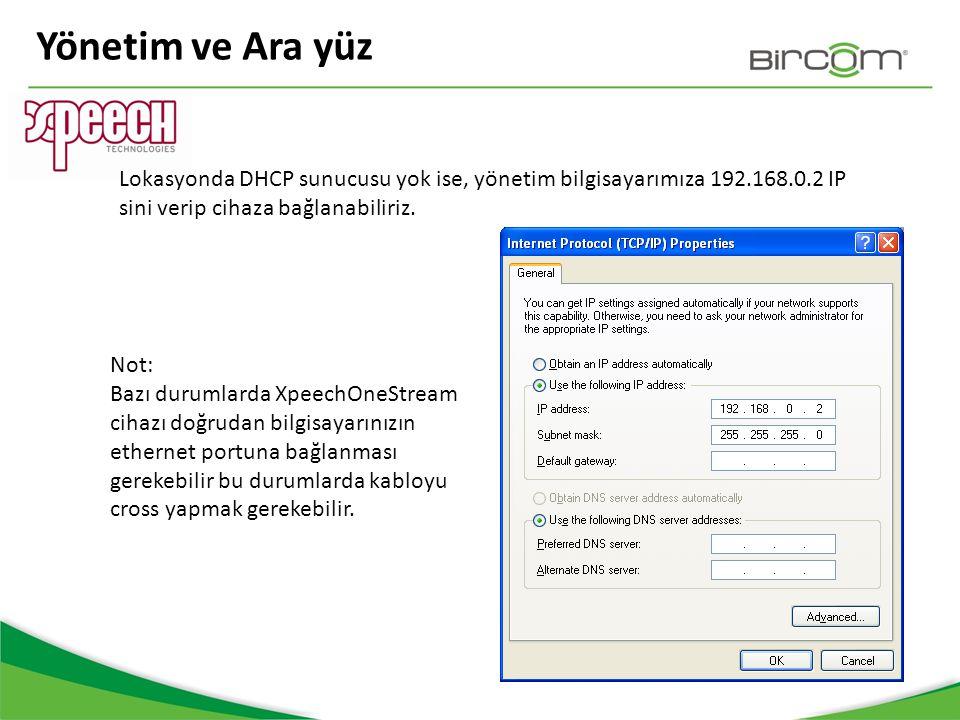 Yönetim ve Ara yüz Lokasyonda DHCP sunucusu yok ise, yönetim bilgisayarımıza 192.168.0.2 IP sini verip cihaza bağlanabiliriz.