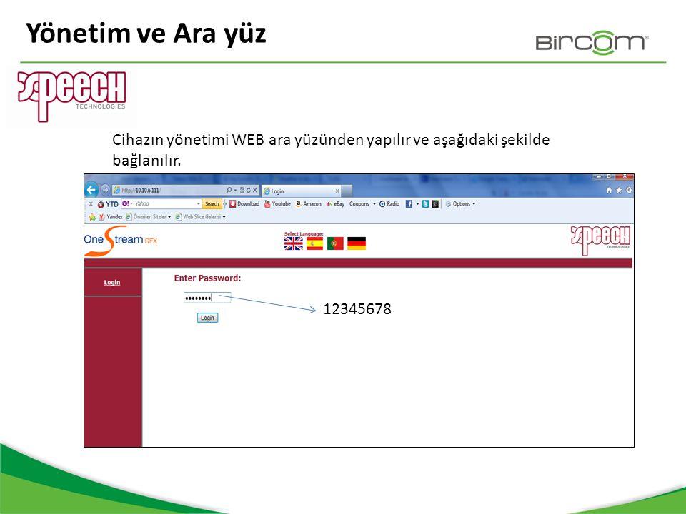 Yönetim ve Ara yüz Cihazın yönetimi WEB ara yüzünden yapılır ve aşağıdaki şekilde bağlanılır.