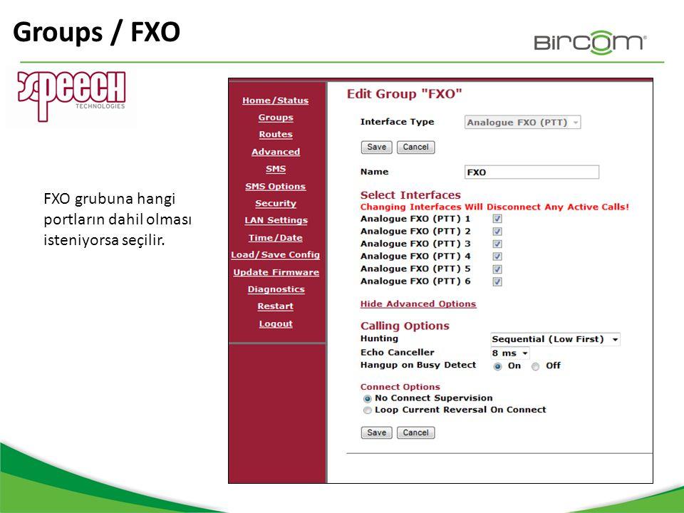 Groups / FXO FXO grubuna hangi portların dahil olması isteniyorsa seçilir.