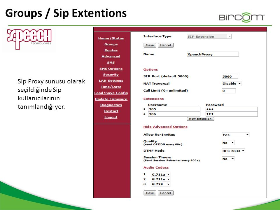 Groups / Sip Extentions