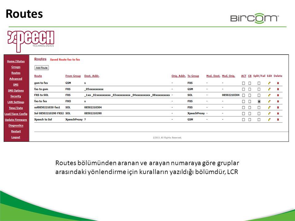 Routes Routes bölümünden aranan ve arayan numaraya göre gruplar arasındaki yönlendirme için kuralların yazıldığı bölümdür, LCR.