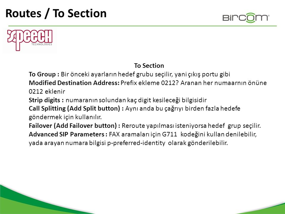 Routes / To Section To Section