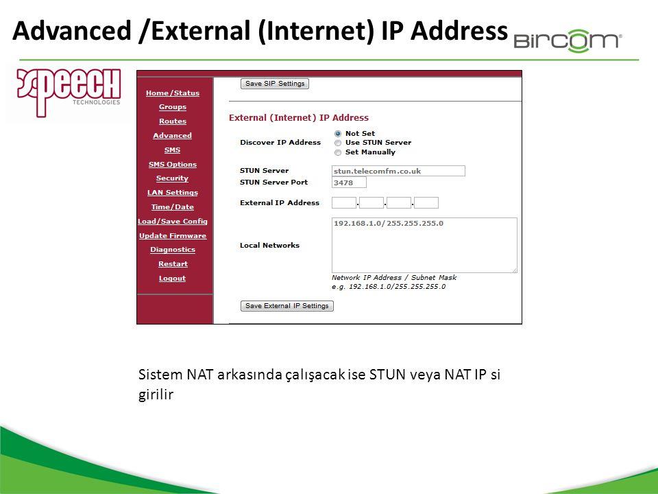 Advanced /External (Internet) IP Address