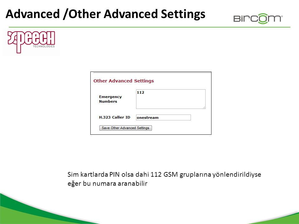 Advanced /Other Advanced Settings
