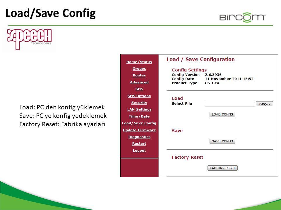 Load/Save Config Load: PC den konfig yüklemek