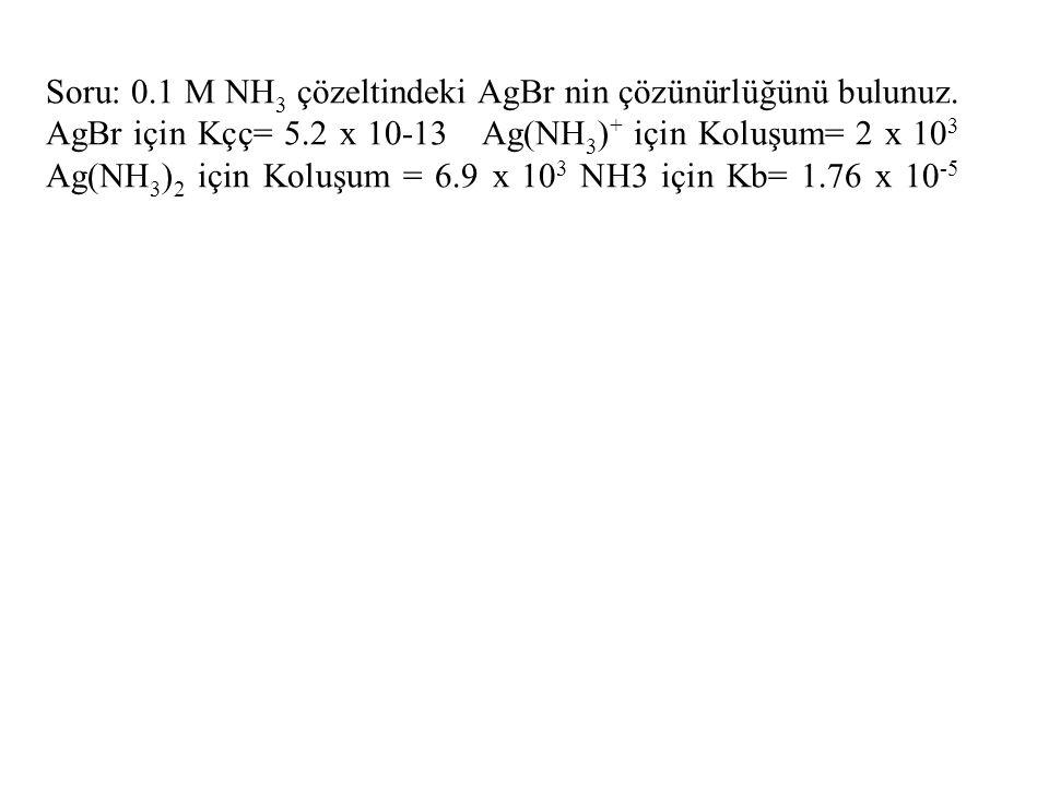 Soru: 0. 1 M NH3 çözeltindeki AgBr nin çözünürlüğünü bulunuz