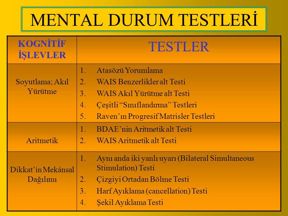 MENTAL DURUM TESTLERİ TESTLER KOGNİTİF İŞLEVLER