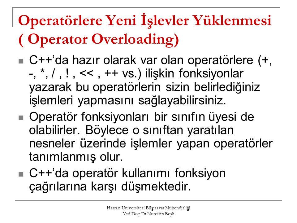 Operatörlere Yeni İşlevler Yüklenmesi ( Operator Overloading)