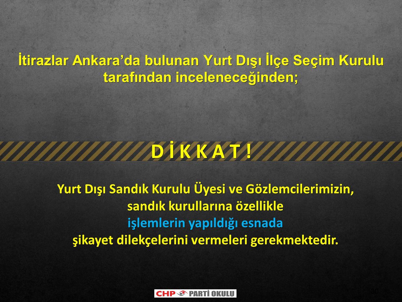 İtirazlar Ankara'da bulunan Yurt Dışı İlçe Seçim Kurulu tarafından inceleneceğinden;