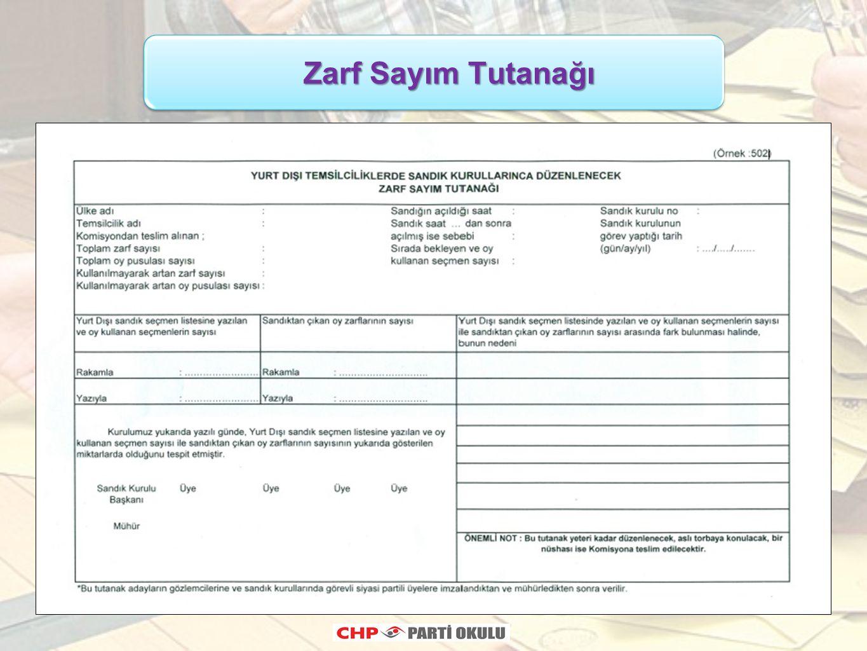 Zarf Sayım Tutanağı