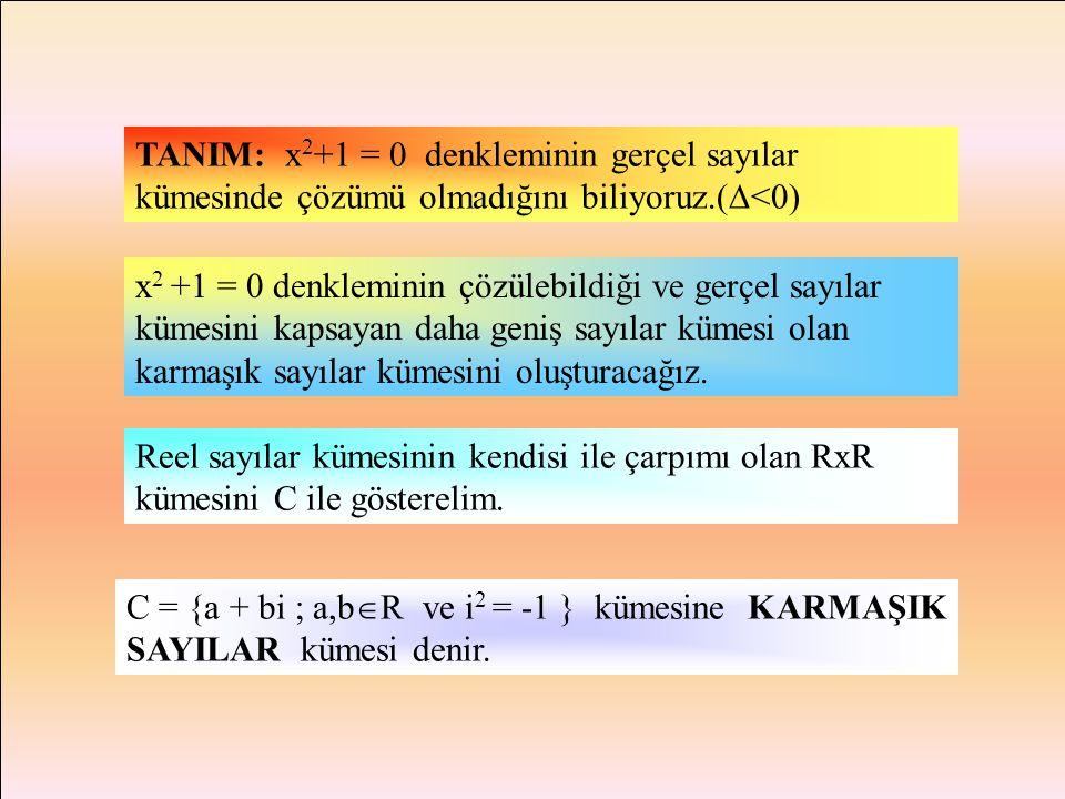 TANIM: x2+1 = 0 denkleminin gerçel sayılar kümesinde çözümü olmadığını biliyoruz.(<0)
