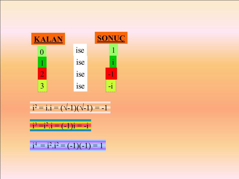 KALAN SONUÇ. ise. 1. 1. ise. i. 2. ise. -1. 3. ise. -i. i2 = i.i = (-1)(-1) = -1. i3 =i2.i = (-1)i = -i.