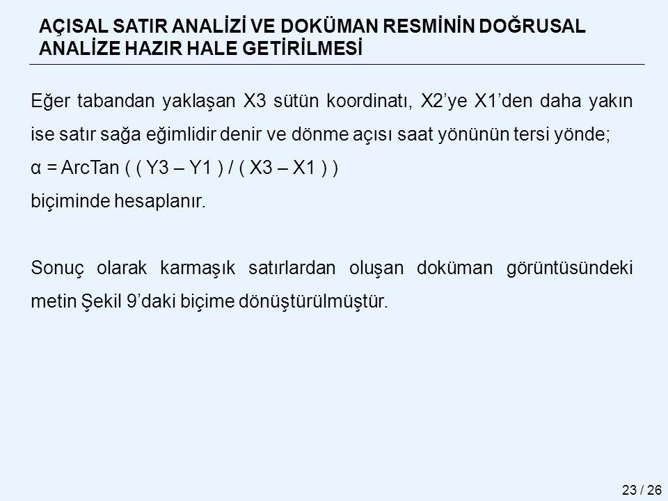 α = ArcTan ( ( Y3 – Y1 ) / ( X3 – X1 ) ) biçiminde hesaplanır.