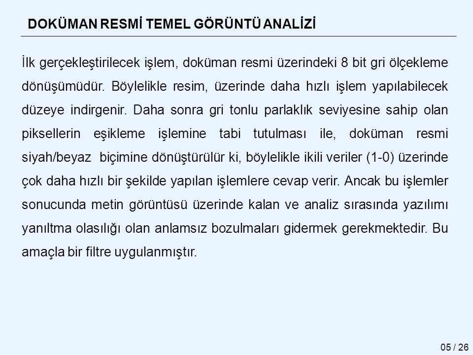 DOKÜMAN RESMİ TEMEL GÖRÜNTÜ ANALİZİ