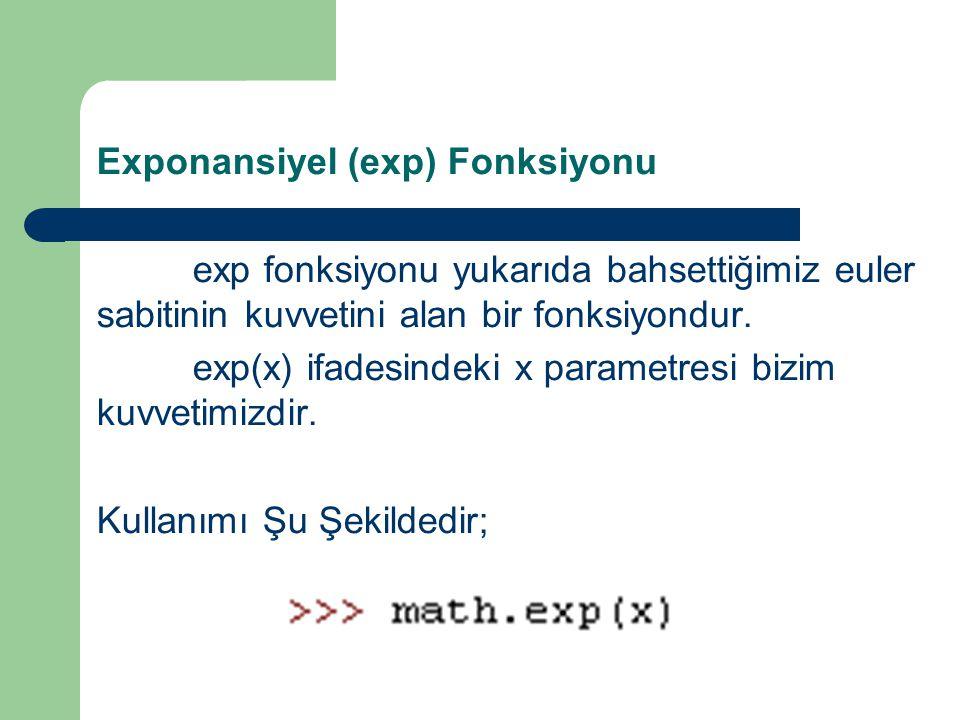 Exponansiyel (exp) Fonksiyonu exp fonksiyonu yukarıda bahsettiğimiz euler sabitinin kuvvetini alan bir fonksiyondur.