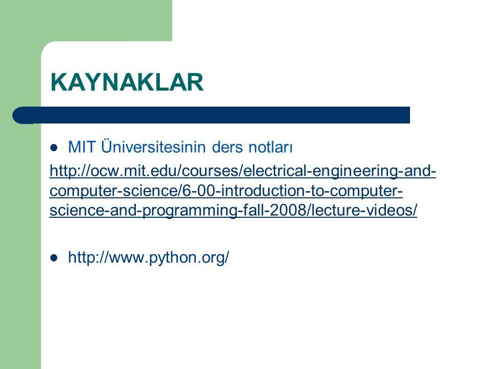 KAYNAKLAR MIT Üniversitesinin ders notları
