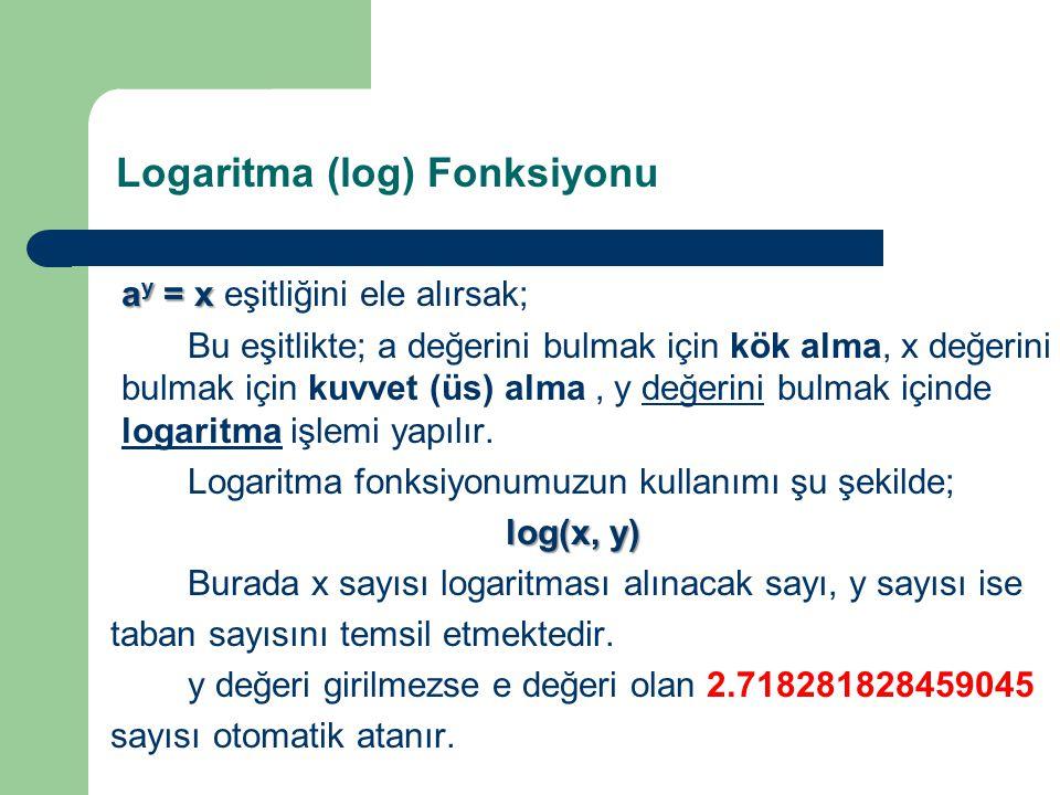 Logaritma (log) Fonksiyonu ay = x eşitliğini ele alırsak;