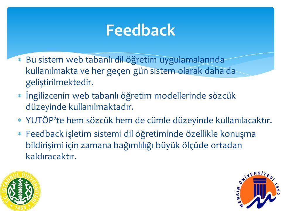Feedback Bu sistem web tabanlı dil öğretim uygulamalarında kullanılmakta ve her geçen gün sistem olarak daha da geliştirilmektedir.