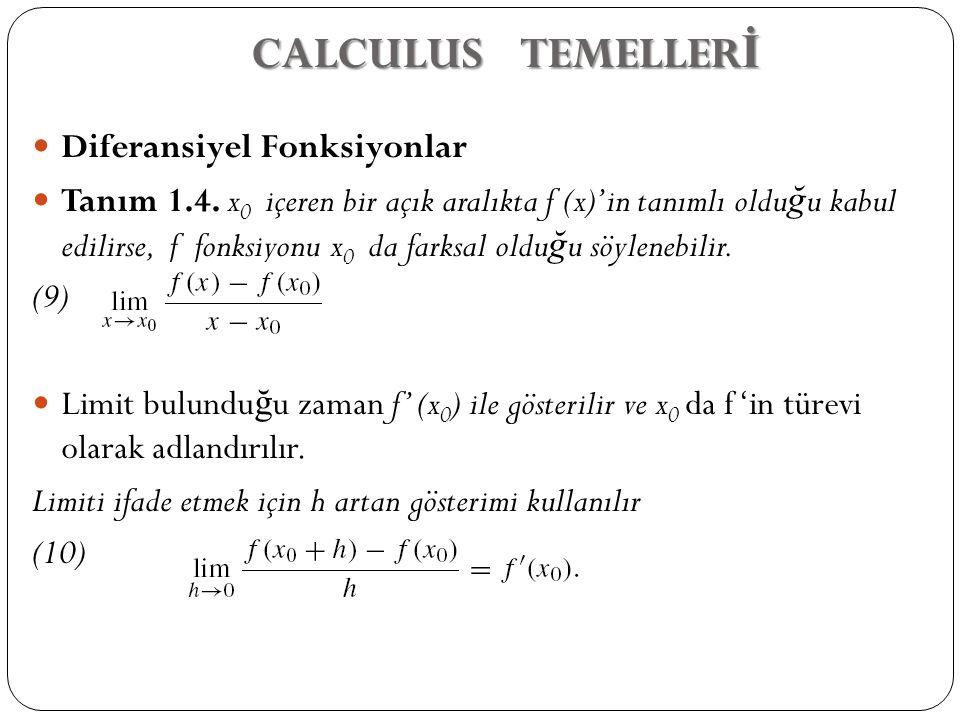 CALCULUS TEMELLERİ Diferansiyel Fonksiyonlar