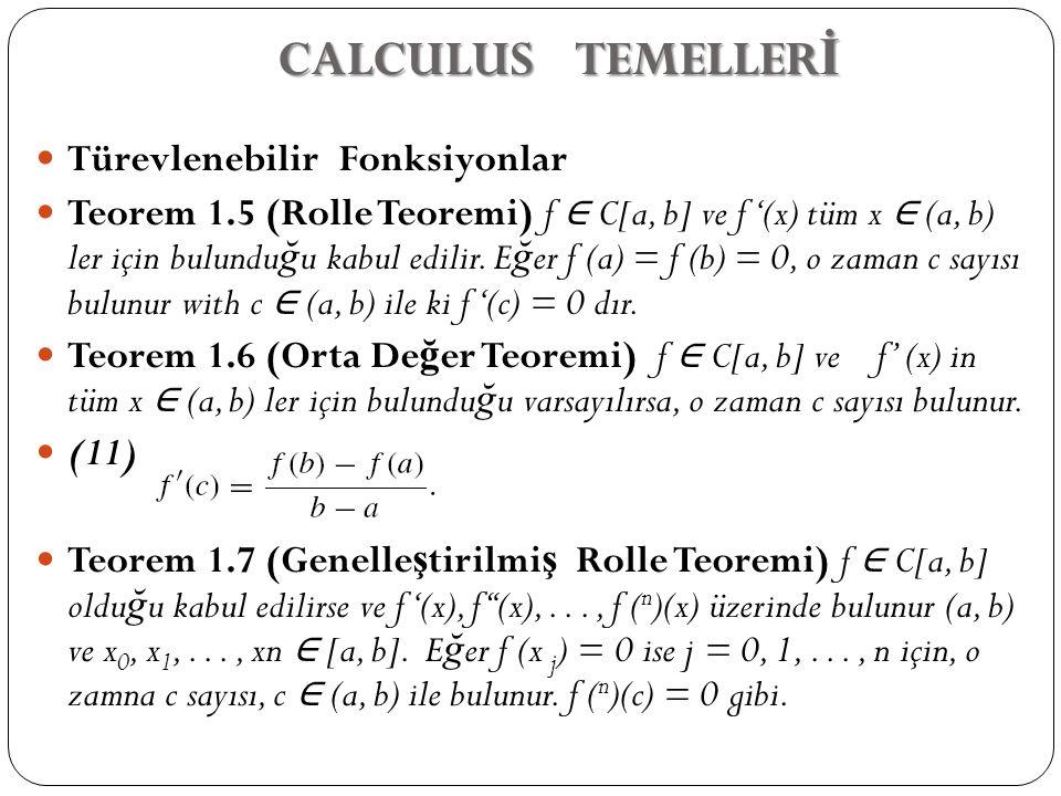CALCULUS TEMELLERİ Türevlenebilir Fonksiyonlar