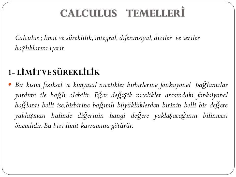 CALCULUS TEMELLERİ Calculus ; limit ve süreklilik, integral, diferansiyal, diziler ve seriler başlıklarını içerir.