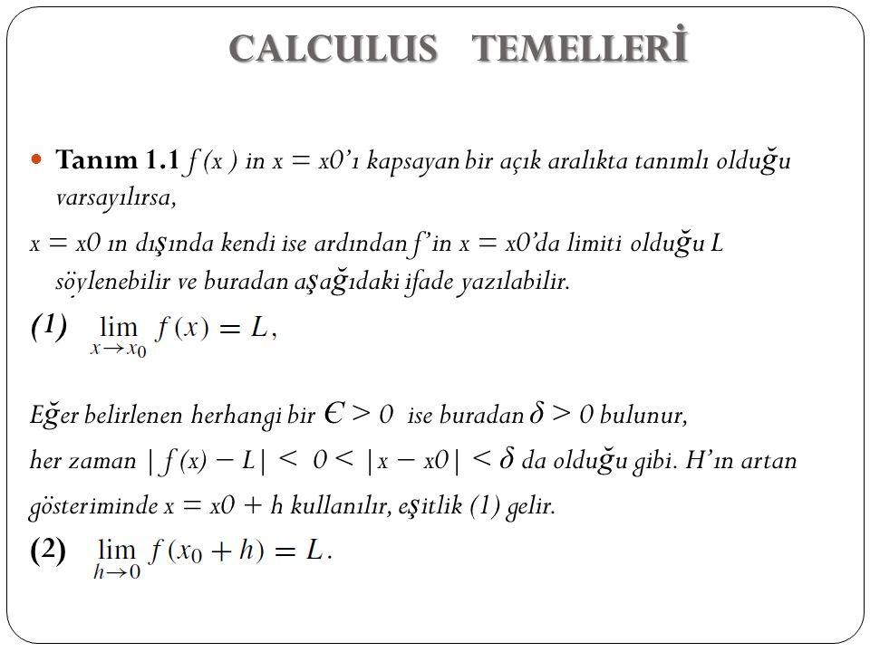 CALCULUS TEMELLERİ Tanım 1.1 f (x ) in x = x0'ı kapsayan bir açık aralıkta tanımlı olduğu varsayılırsa,