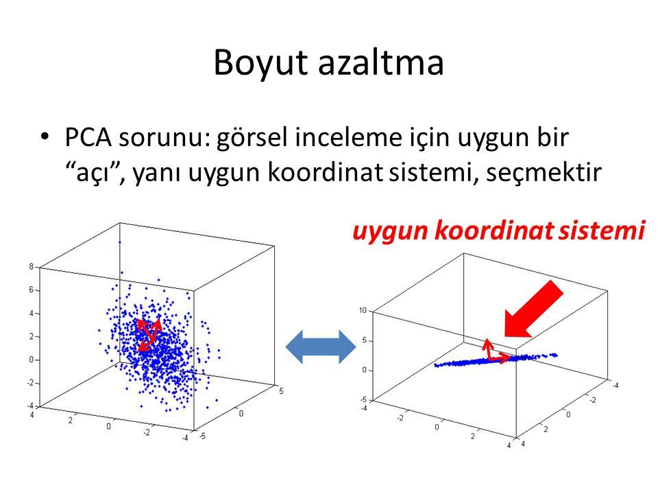 Boyut azaltma PCA sorunu: görsel inceleme için uygun bir açı , yanı uygun koordinat sistemi, seçmektir.