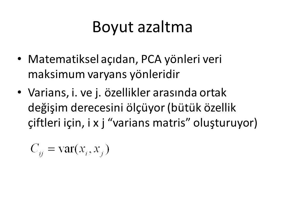 Boyut azaltma Matematiksel açıdan, PCA yönleri veri maksimum varyans yönleridir.