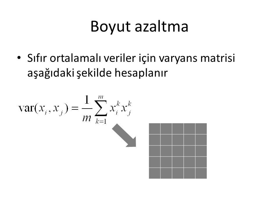 Boyut azaltma Sıfır ortalamalı veriler için varyans matrisi aşağıdaki şekilde hesaplanır