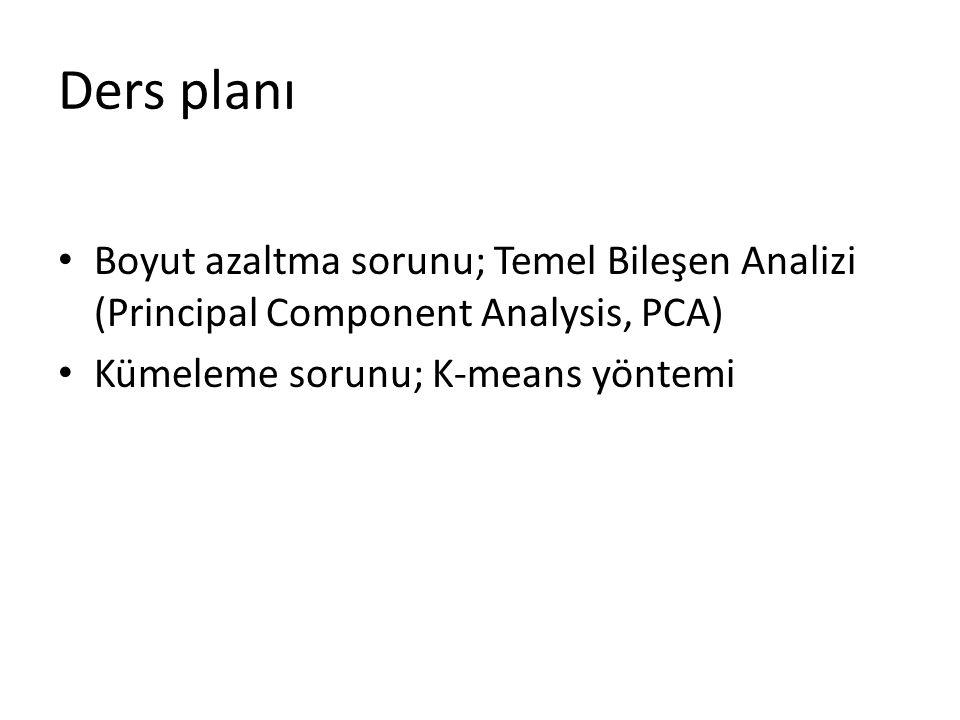 Ders planı Boyut azaltma sorunu; Temel Bileşen Analizi (Principal Component Analysis, PCA) Kümeleme sorunu; K-means yöntemi.