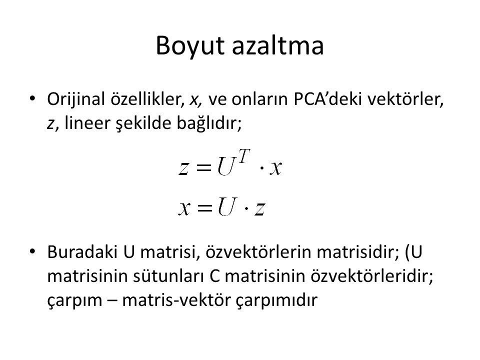 Boyut azaltma Orijinal özellikler, x, ve onların PCA'deki vektörler, z, lineer şekilde bağlıdır;
