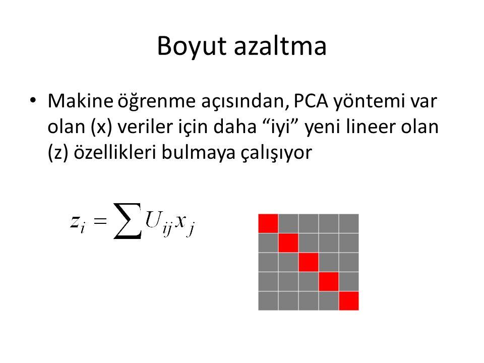 Boyut azaltma Makine öğrenme açısından, PCA yöntemi var olan (x) veriler için daha iyi yeni lineer olan (z) özellikleri bulmaya çalışıyor.