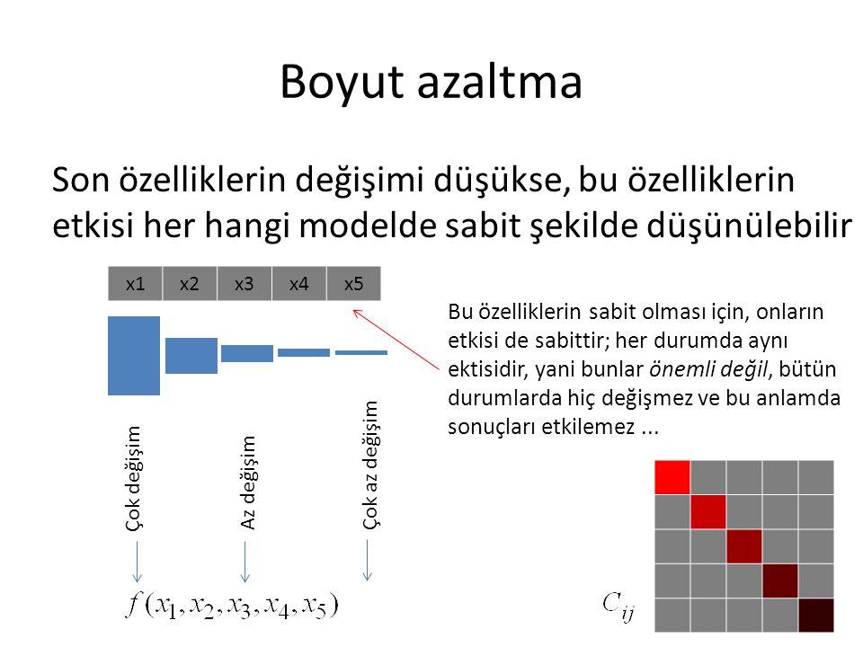 Boyut azaltma Son özelliklerin değişimi düşükse, bu özelliklerin etkisi her hangi modelde sabit şekilde düşünülebilir.