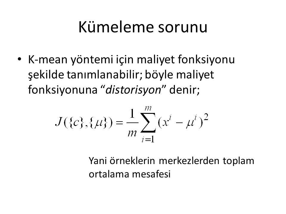 Kümeleme sorunu K-mean yöntemi için maliyet fonksiyonu şekilde tanımlanabilir; böyle maliyet fonksiyonuna distorisyon denir;