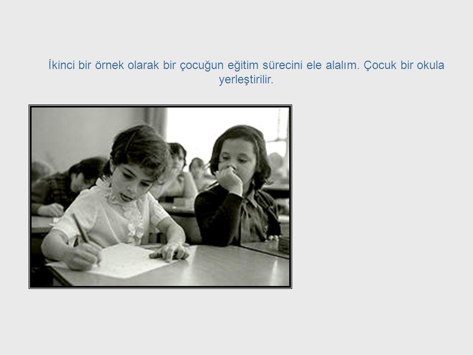 Educating Children İkinci bir örnek olarak bir çocuğun eğitim sürecini ele alalım. Çocuk bir okula yerleştirilir.