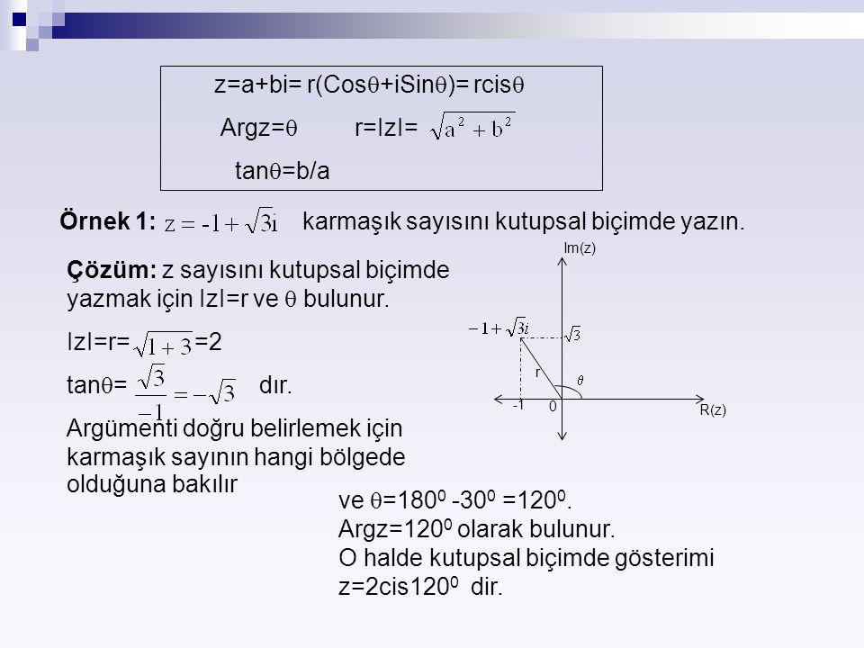 z=a+bi= r(Cos+iSin)= rcis Argz= r=IzI= tan=b/a