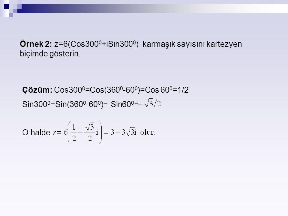 Örnek 2: z=6(Cos3000+iSin3000) karmaşık sayısını kartezyen biçimde gösterin.
